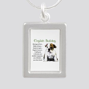 English Bulldog Silver Portrait Necklace