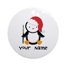 Personalized Flute Penguin Ornament (Round)