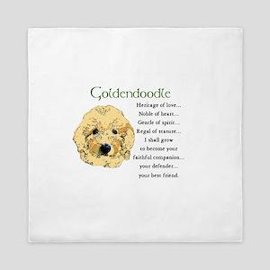 Goldendoodle Pup Queen Duvet