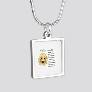 Goldendoodle Pup Silver Square Necklace