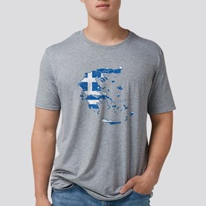 Greece Flag and Map Cracked Mens Tri-blend T-Shirt