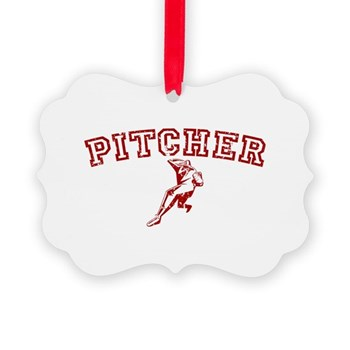 Pitcher - Red Picture Ornament