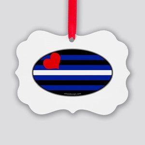 Oval Leather Pride Flag Picture Ornament