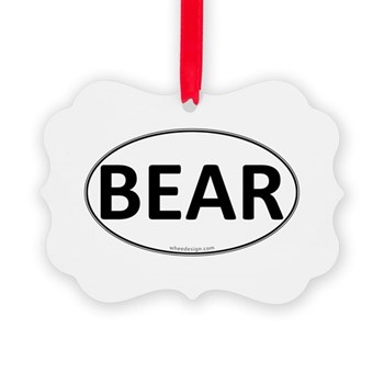 BEAR Euro Oval Picture Ornament