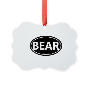 BEAR Black Euro Oval Picture Ornament
