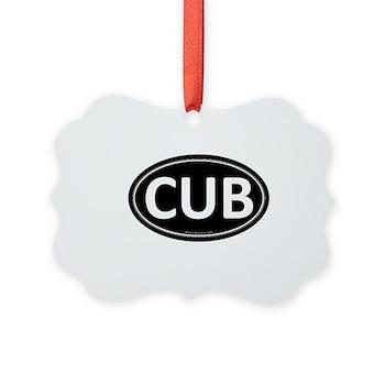CUB Black Euro Oval Picture Ornament