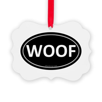 WOOF Black Euro Oval Picture Ornament