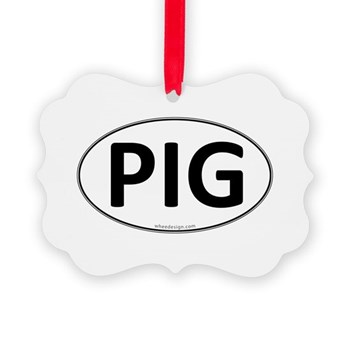 PIG Euro Oval Picture Ornament