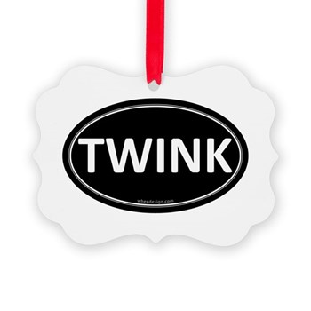 TWINK Black Euro Oval Picture Ornament