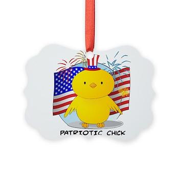 Patriotic Chick Picture Ornament