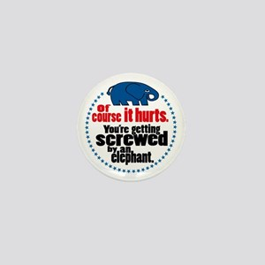 """Screwed by an Elephant"" Mini Button"