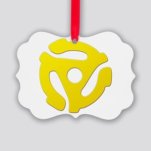 Yellow 45 RPM Adapter Picture Ornament