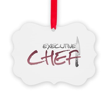 Red Executive Chef Picture Ornament