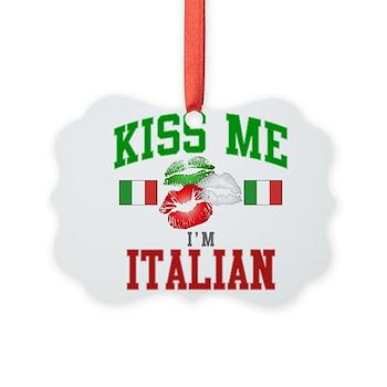 Kiss Me I'm Italian Picture Ornament