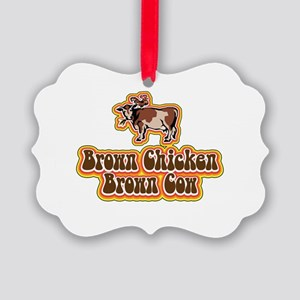 Brown Chicken Brown Cow Picture Ornament