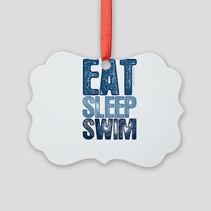 EAT SLEEP SWIM Picture Ornament