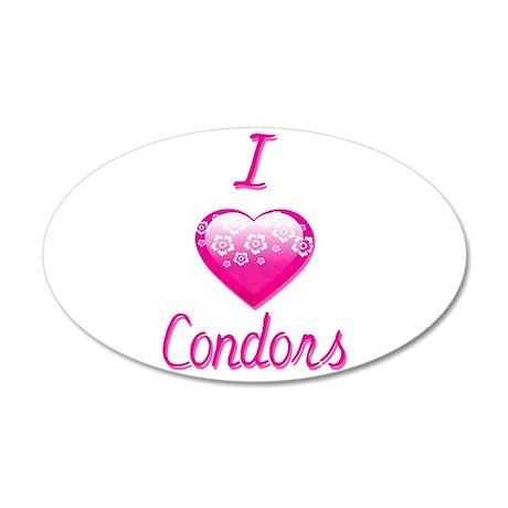 I Love/Heart Condors 35x21 Oval Wall Decal