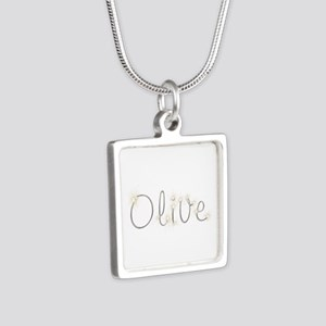 Olive Spark Silver Square Necklace