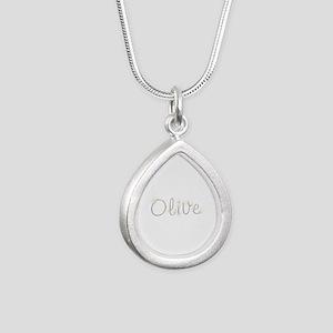 Olive Spark Silver Teardrop Necklace