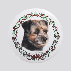 Border Terrier Wreath Xmas Ornament (Round)