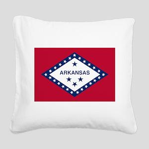 Flag of Arkansas Square Canvas Pillow