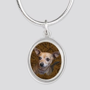Chihuahua - Dog Silver Oval Necklace