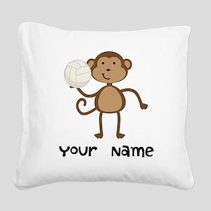 Personalized Volleyball Monkey Square Canvas Pillo