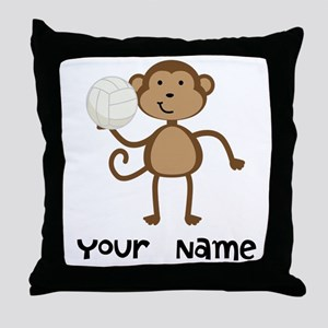 Personalized Volleyball Monkey Throw Pillow