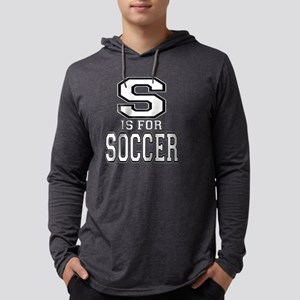 S is for Soccer black Mens Hooded Shirt