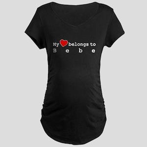My Heart Belongs To Bebe Maternity Dark T-Shirt