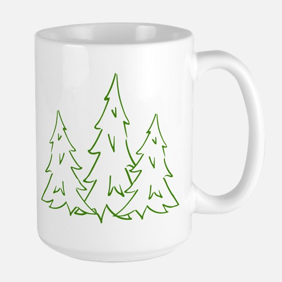 Three Pine Trees Large Mug