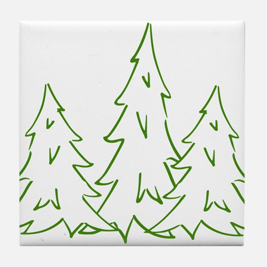 Three Pine Trees Tile Coaster