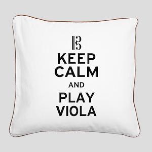Keep Calm Viola Square Canvas Pillow