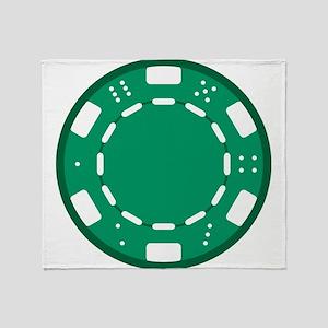 Green Poker Chip Throw Blanket