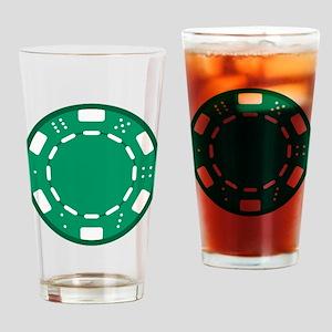 Green Poker Chip Drinking Glass