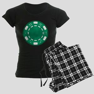 Green Poker Chip Women's Dark Pajamas