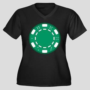 Green Poker Chip Women's Plus Size V-Neck Dark T-S