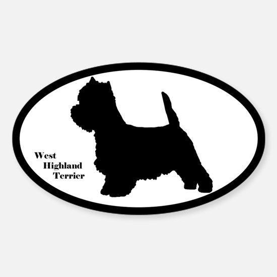 West Highland Terrier Silhouette Oval Decal