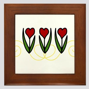 Red Tulips Framed Tile
