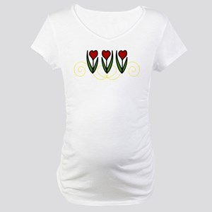 Red Tulips Maternity T-Shirt