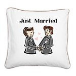 Gay Wedding 2 Grooms Square Canvas Pillow