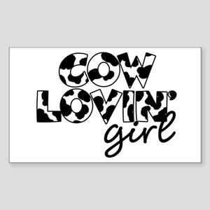 cow lovin girl Rectangle Sticker