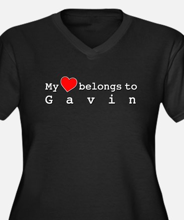 My Heart Belongs To Gavin Women's Plus Size V-Neck