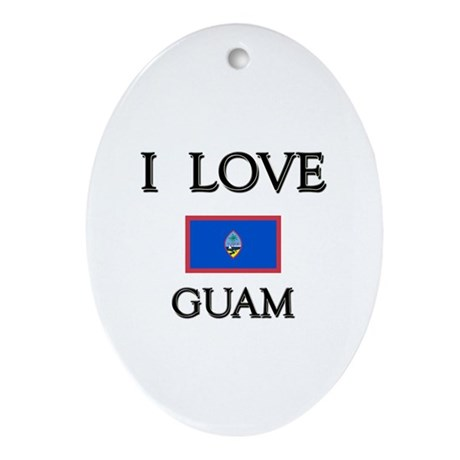 I Love Guam Oval Ornament
