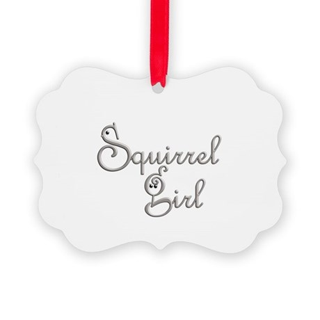 Squirrel Lover Girl Picture Ornament