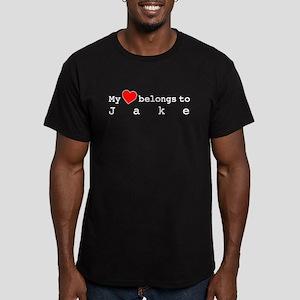 My Heart Belongs To Jake Men's Fitted T-Shirt (dar