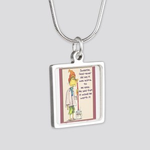MAIDladyMESSAGEfrom GOD Silver Square Necklace