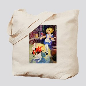 Alice Falls Down The Rabbit Hole Tote Bag