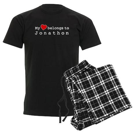 My Heart Belongs To Jonathon Men's Dark Pajamas