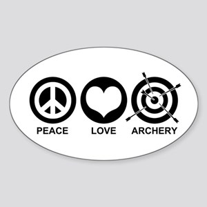 Peace Love Archery Sticker (Oval)